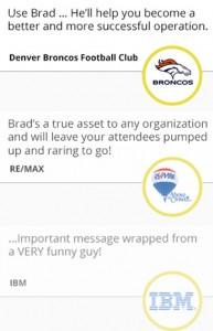 Testimonials by Denver Broncos, RE/MAX and IBM
