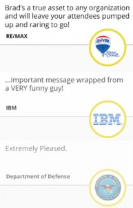 Testimonials by IBM, RE/MAX, Department of Defense